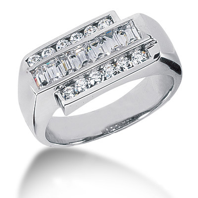 Platinum Men's Round & Baguette Diamonds Ring 0.85ct Main Image