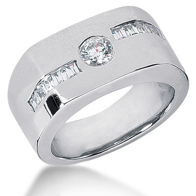 Platinum Men's Round & Baguette Diamonds Ring 0.90ct 11mm Platinum Men's Round & Baguette Diamonds Ring 0.90ct 11mm