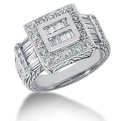 Platinum Men's Round & Baguette Diamonds Ring 1.20ct Main Image
