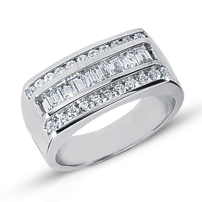 Platinum Men's Round & Baguette Diamonds Ring 1.24ct Main Image