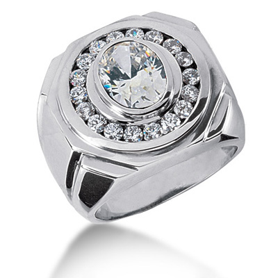 Platinum Men's Round & Oval Diamonds Ring 2.72ct Platinum Men's Round & Oval Diamonds Ring 2.72ct