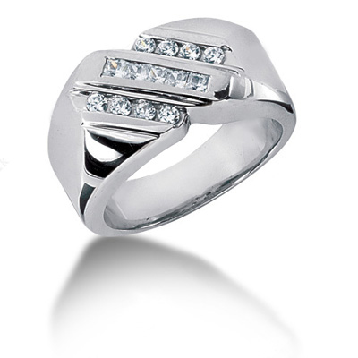 Platinum Men's Round & Princess Diamonds Ring 0.49ct Main Image