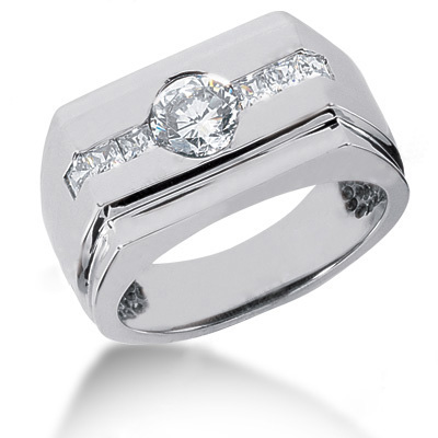 Platinum Men's Round & Princess Diamonds Ring 1.27ct Platinum Men's Round & Princess Diamonds Ring 1.27ct