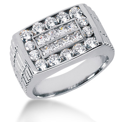 Platinum Men's Round & Princess Diamonds Ring 1.96ct