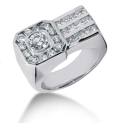 Platinum Men's Round & Princess Diamonds Ring 3.06ct Main Image