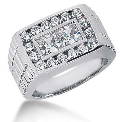 Platinum Men's Round & Princess Diamonds Ring 3.68ct Main Image