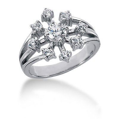 Platinum Right Hand Diamond Ladies Ring 0.75ct