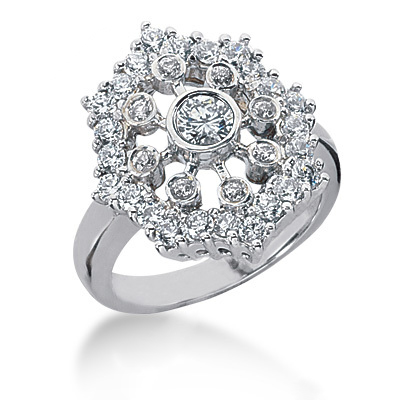 Platinum Right Hand Diamond Ladies Ring 1.25ct