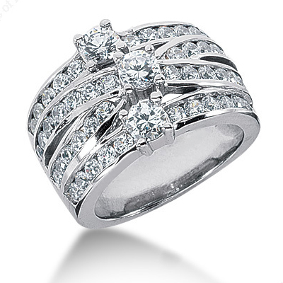Platinum Right Hand Diamond Ladies Ring 2.50ct