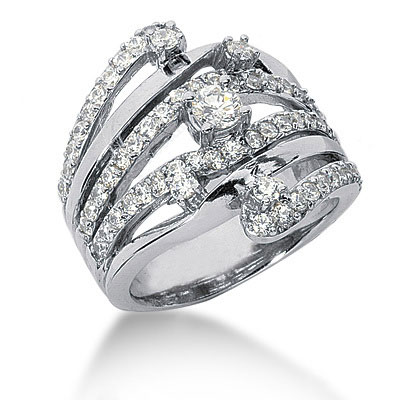 Platinum Right Hand Ladies Diamond Ring 1.18ct Main Image
