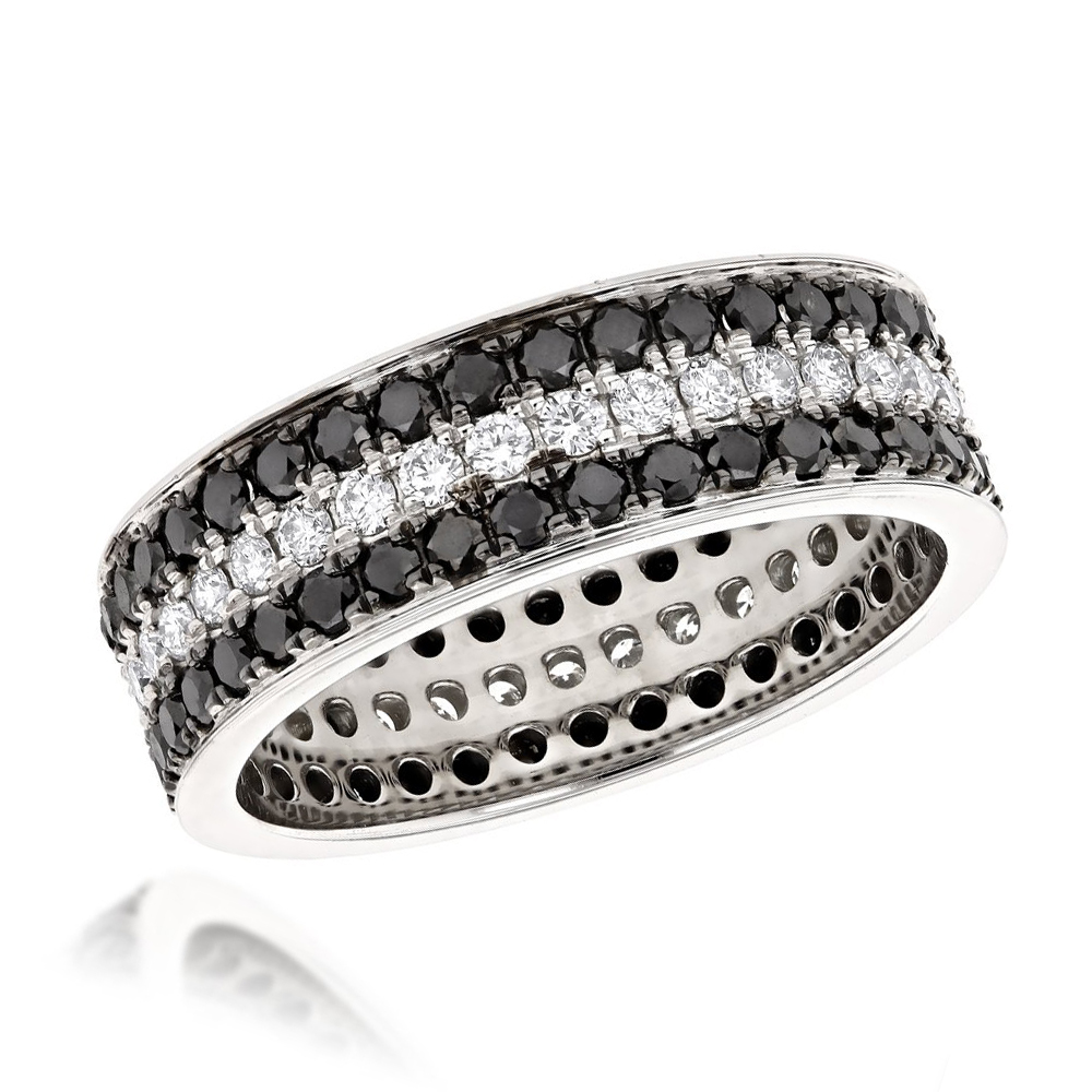 Platinum Rings: White and Black Diamond Eternity Band by Luxurman 2.85ct Main Image