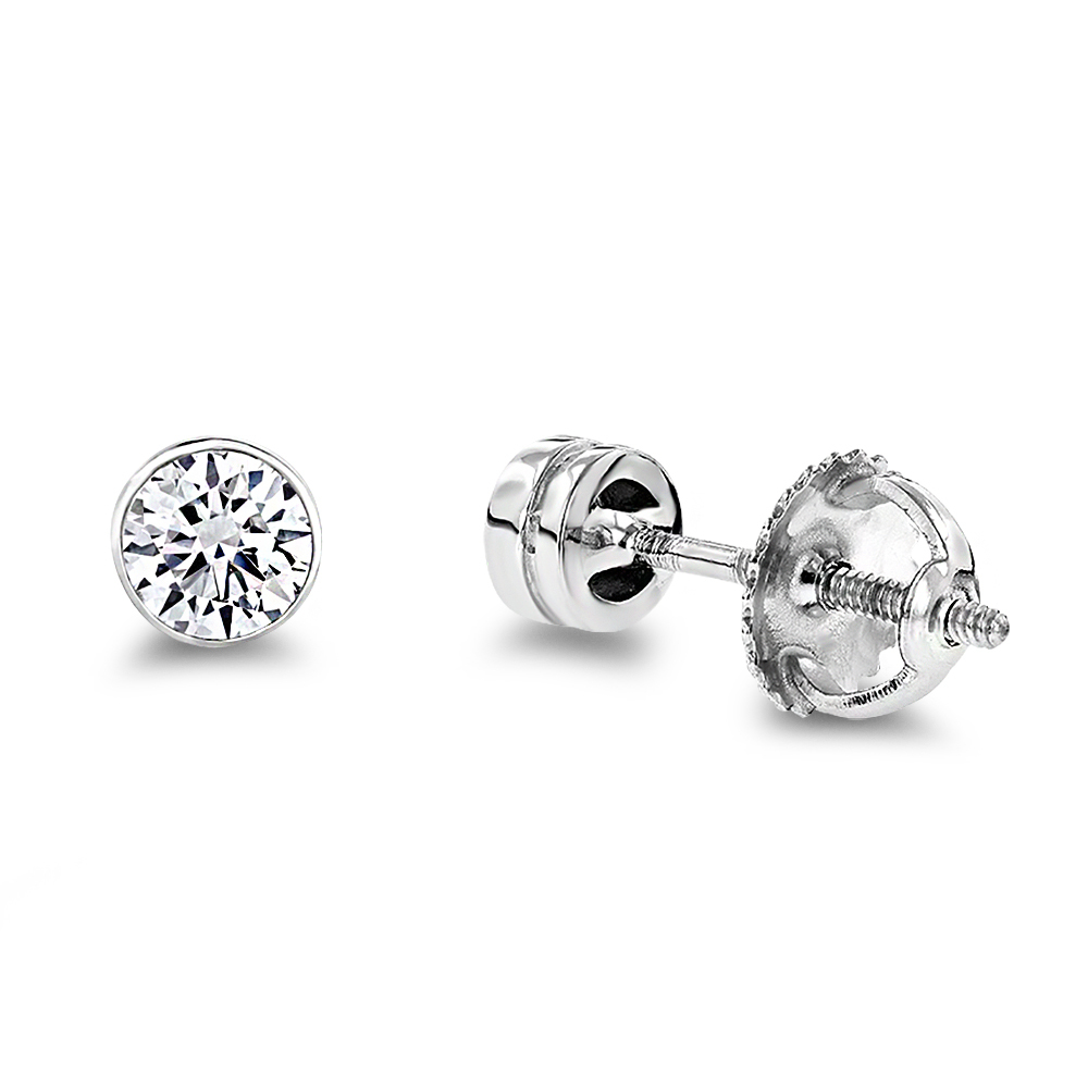 Platinum Round Diamond Bezel Earrings Studs 0.33ct Main Image