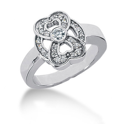 Platinum Round Diamond Ladies Ring 0.34ct Main Image