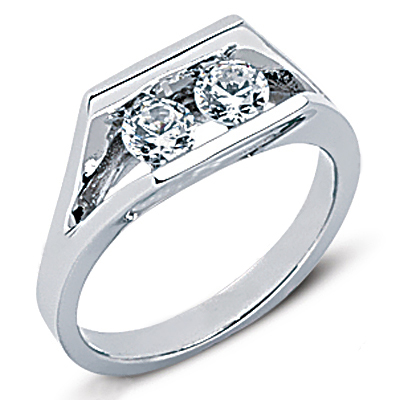 Thin Platinum Round Diamond Ladies Ring 0.50ct Main Image