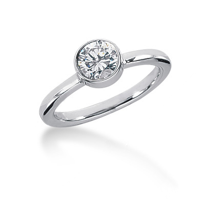 Thin Platinum Round Diamond Ladies Ring 0.60ct Main Image