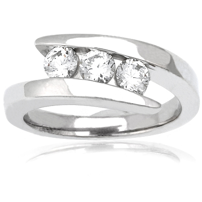 Thin Platinum Round Diamond Ladies Ring 0.75ct Main Image