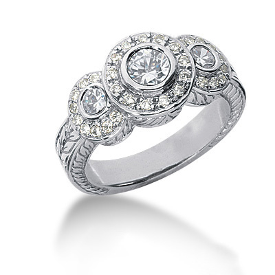 Thin Platinum Round Diamond Ladies Ring 0.86ct Main Image
