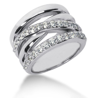 Platinum Round Diamond Ladies Ring 0.87ct Main Image