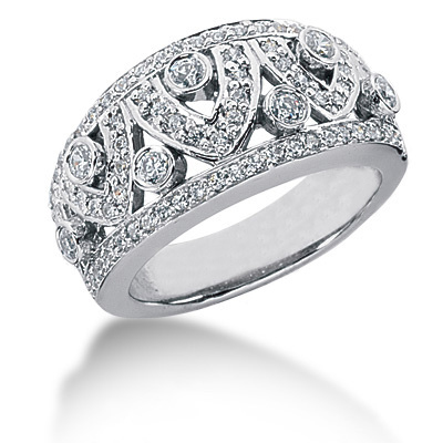 Platinum Round Diamond Ladies Ring 0.89ct Main Image