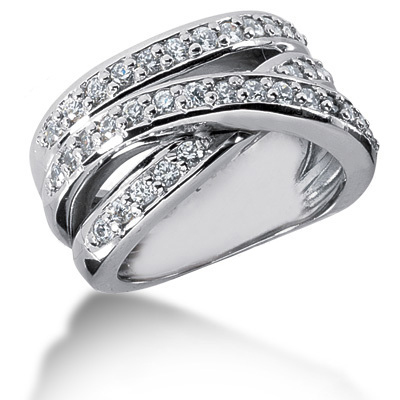 Platinum Round Diamond Ladies Ring 0.90ct Main Image