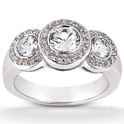 Platinum Round Diamond Ladies Ring 1.30ct Main Image