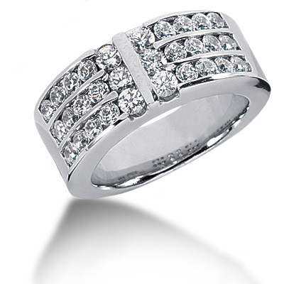 Platinum Round Diamond Ladies Ring 1.38ct Main Image