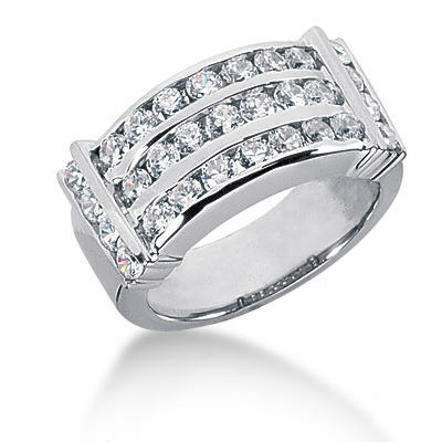 Platinum Round Diamond Ladies Ring 1.45ct Main Image