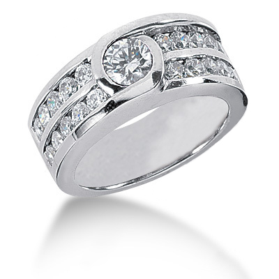 Platinum Round Diamond Ladies Ring 1.50ct