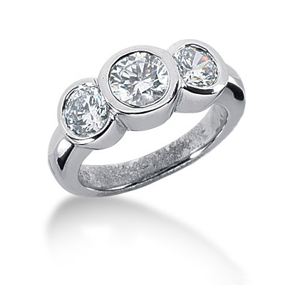 Thin Platinum Round Diamond Ladies Ring 1.75ct