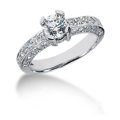 Platinum Round Diamond Engagement Ring 1.83ct