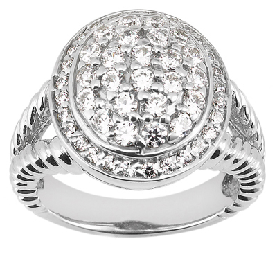 Platinum Round Diamond Ladies Ring 1ct Main Image