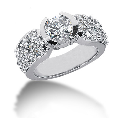 Platinum Round Diamond Ladies Ring 2.04ct