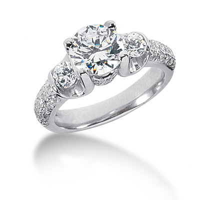 Thin Platinum Round Diamond Ladies Ring 2.43ct Main Image