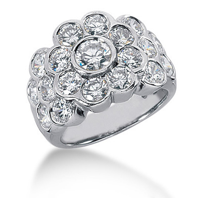 Platinum Round Diamond Ladies Ring 3.56ct Main Image