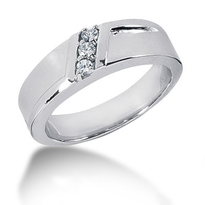 Platinum Round Diamond Men's Wedding Ring 0.15ct 6.6mm Main Image