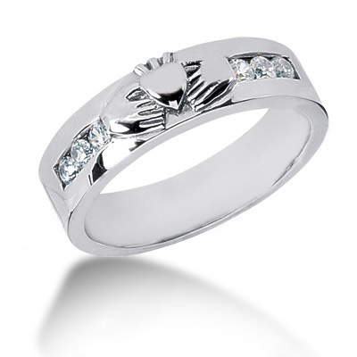 Platinum Round Diamond Men's Wedding Ring 0.30ct Main Image
