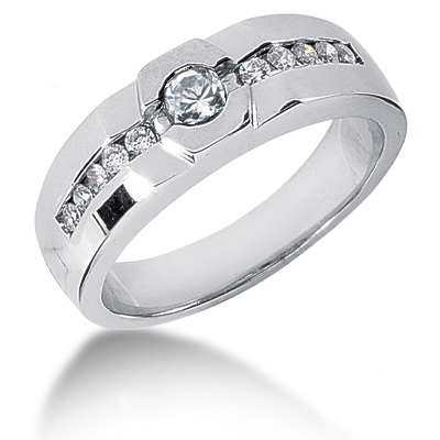 Platinum Round Diamond Men's Wedding Ring 0.55ct Platinum Round Diamond Men's Wedding Ring 0.55ct