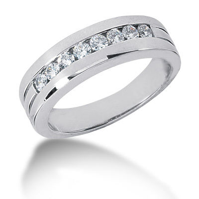 Platinum Round Diamond Men's Wedding Ring 0.56ct Main Image