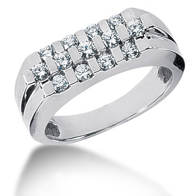 Platinum Round Diamond Men's Wedding Ring 0.75ct Main Image