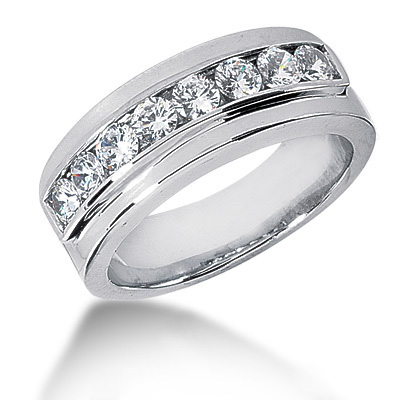Platinum Round Diamond Men's Wedding Ring 0.80ct Platinum Round Diamond Men's Wedding Ring 0.80ct