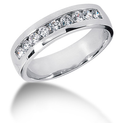Platinum Round Diamond Men's Wedding Ring 0.81ct Main Image