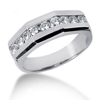 Platinum Round Diamond Men's Wedding Ring 0.90ct Platinum Round Diamond Men's Wedding Ring 0.90ct