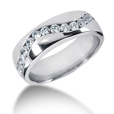 Platinum Round Diamond Men's Wedding Ring 0.90ct 7.2mm Main Image