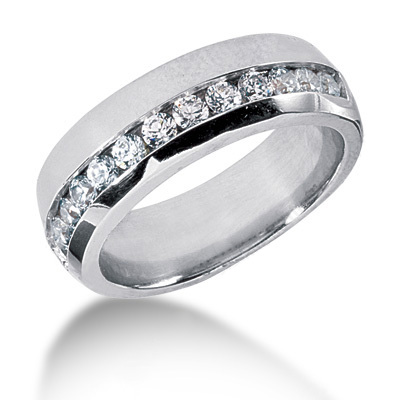 Platinum Round Diamond Men's Wedding Ring 0.91ct Main Image