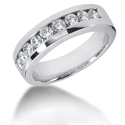 Platinum Round Diamond Men's Wedding Ring 1.08ct Platinum Round Diamond Men's Wedding Ring 1.08ct