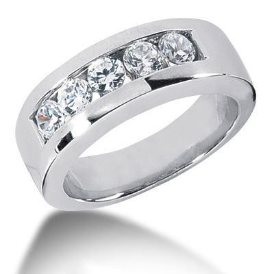 Platinum Round Diamond Men's Wedding Ring 1.25ct Platinum Round Diamond Men's Wedding Ring 1.25ct