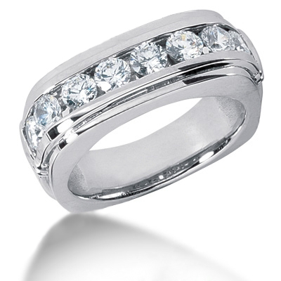 Platinum Round Diamond Men's Wedding Ring 1.60ct Platinum Round Diamond Men's Wedding Ring 1.60ct
