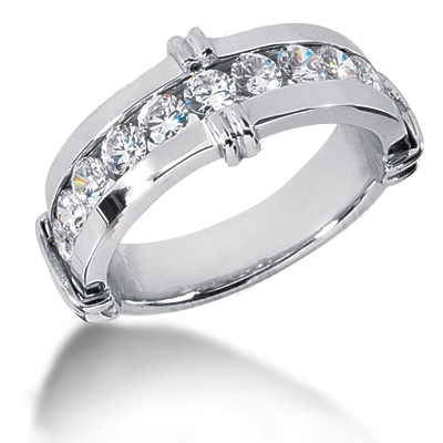 Platinum Round Diamond Men's Wedding Ring 1.80ct Platinum Round Diamond Men's Wedding Ring 1.80ct