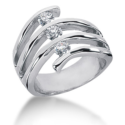 Platinum Round Diamond Right Hand Ladies Ring 0.30ct