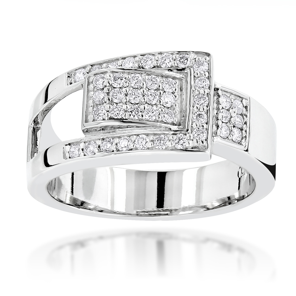 Platinum Round Diamond Right Hand Ladies Ring 0.50ct